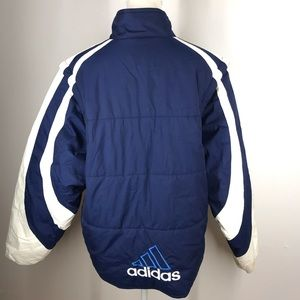 Vtg Adidas Trefoil Spell Out Blue Puffer Jacket S